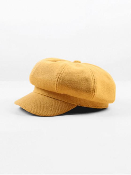 latest Peaked Octagonal Beret Solid Hat - YELLOW