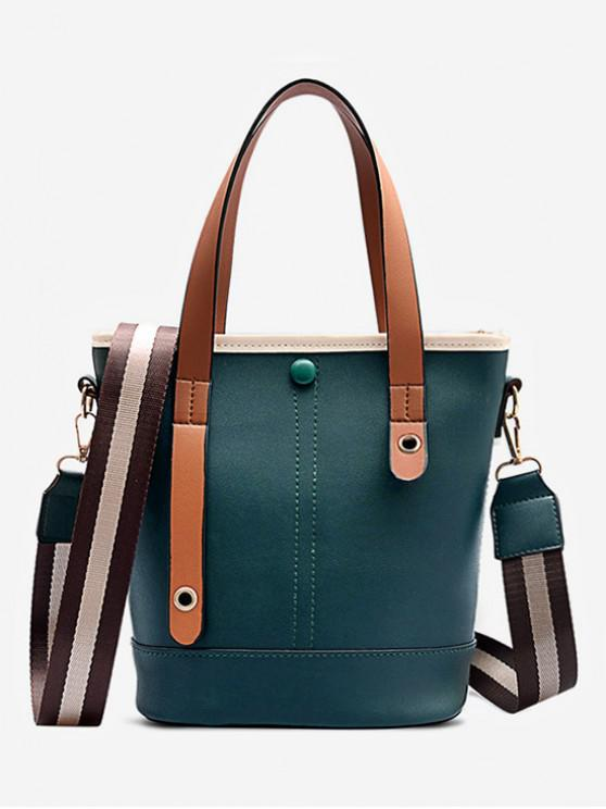 chic Color-blocking PU Leather Handbag - DARK FOREST GREEN