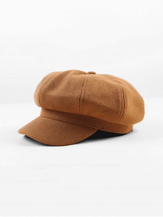 fancy Peaked Octagonal Beret Solid Hat - KHAKI