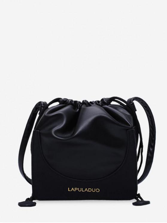 sale Letter Print PU Leather Drawstring Crossbody Bag - BLACK