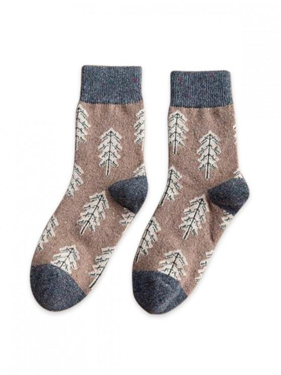 affordable Christmas Tree Pattern Confetti Socks - KHAKI