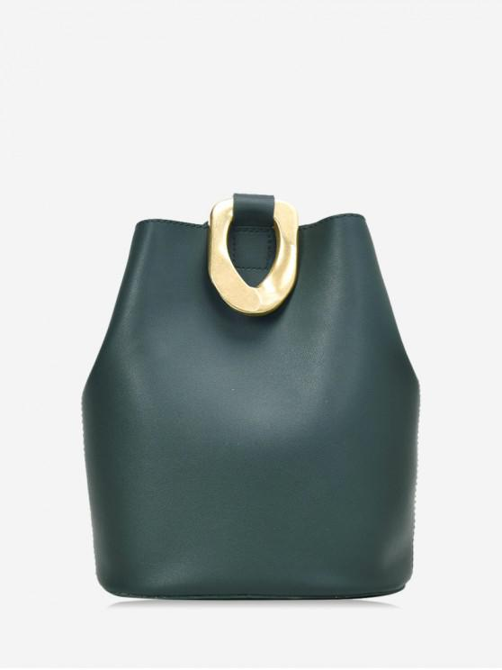 women Metal Accent Leather Bucket Bag - DARK FOREST GREEN