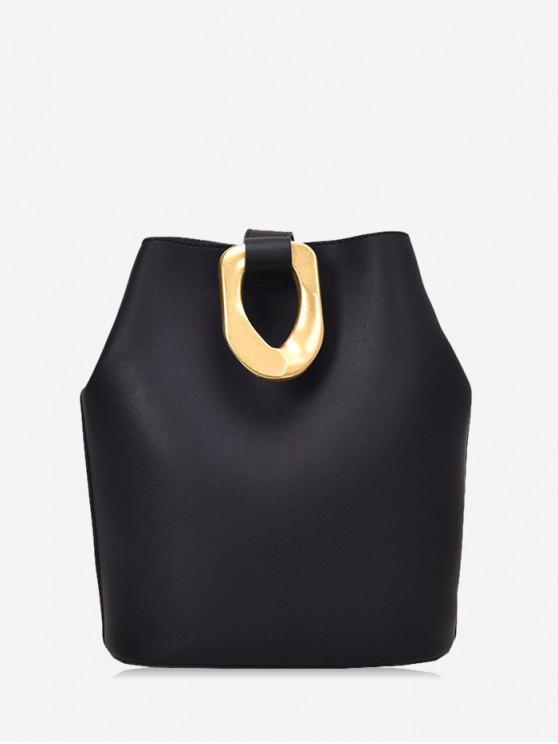 金屬口音皮革水桶包 - 黑色