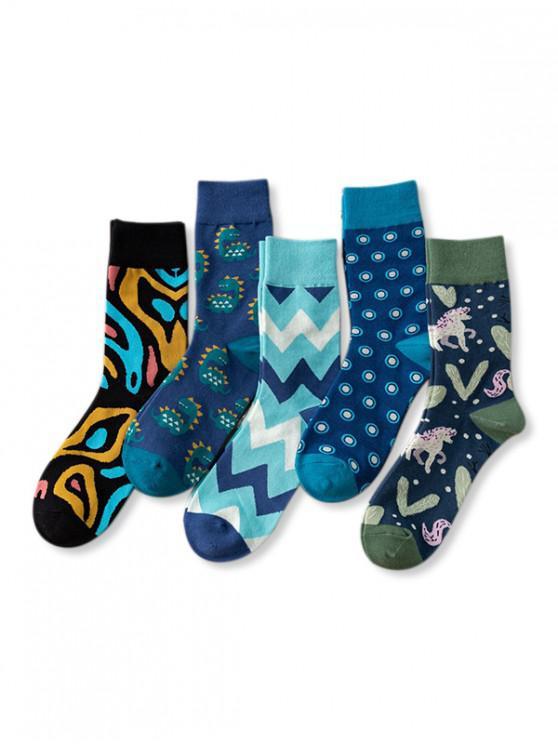 lady 5Pairs Printed Animal Geometric Socks Set - MULTI-A