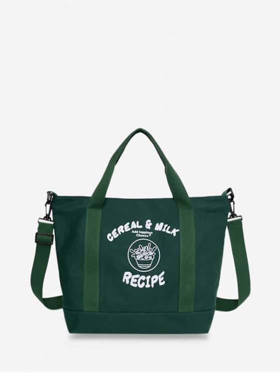 帆布字符圖案大手提袋 - 中等森林綠色