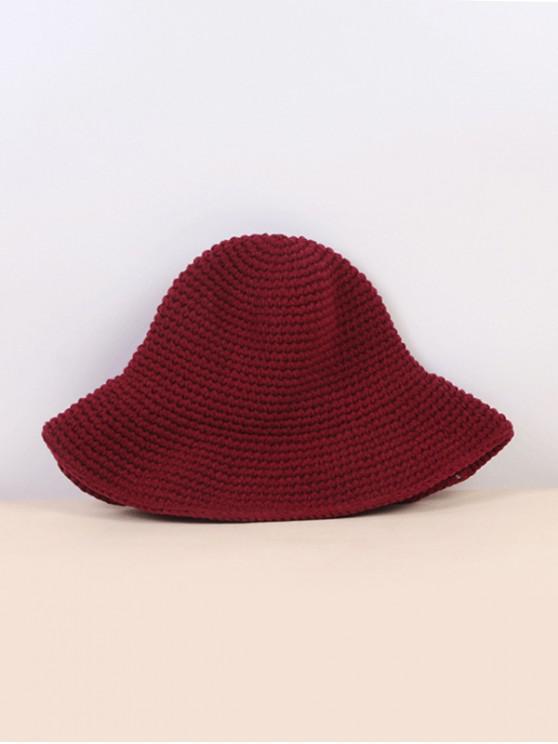 new Winter Solid Crochet Bucket Hat - RED WINE