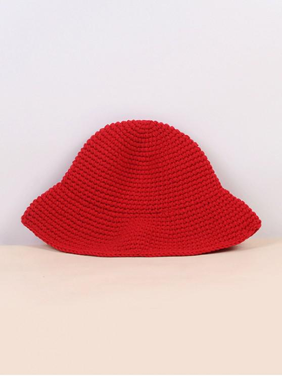 outfit Winter Solid Crochet Bucket Hat - RED