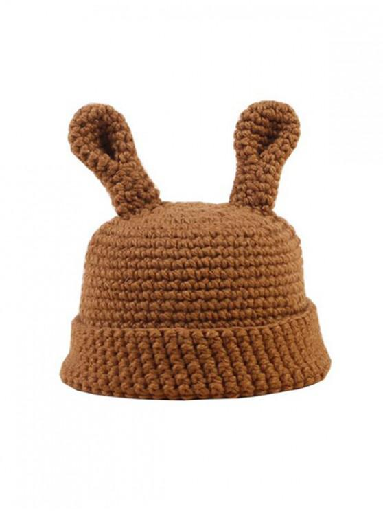 outfits Animal Ears Solid Crochet Hat - KHAKI