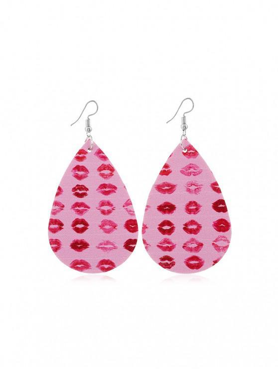 shop Valentine's Lip Heart Leather Earrings - MULTI-A