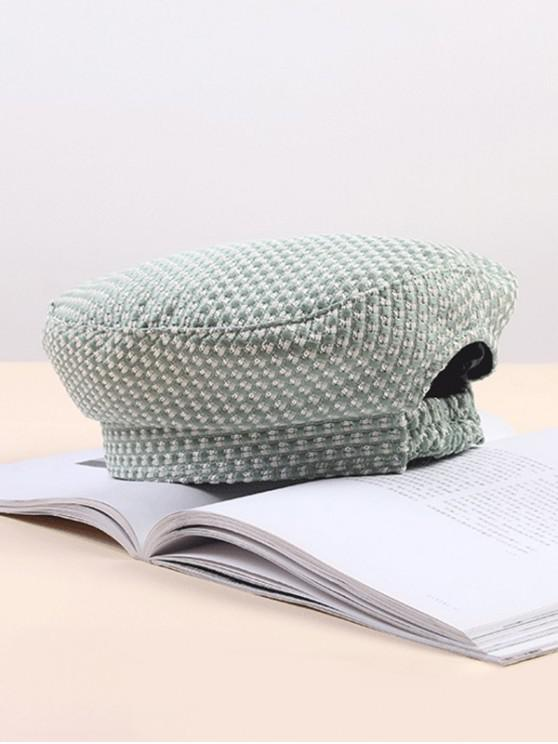 latest Checkered Elastic Retro Beret Hat - PALE BLUE LILY