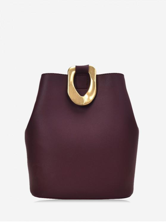 fancy Metal Accent Leather Bucket Bag - RED WINE
