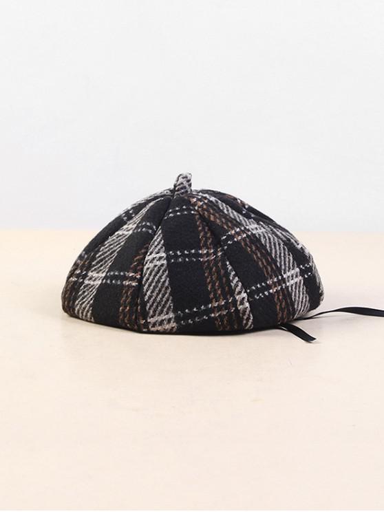 Chapeau Béret à Carreaux en Coton - Noir