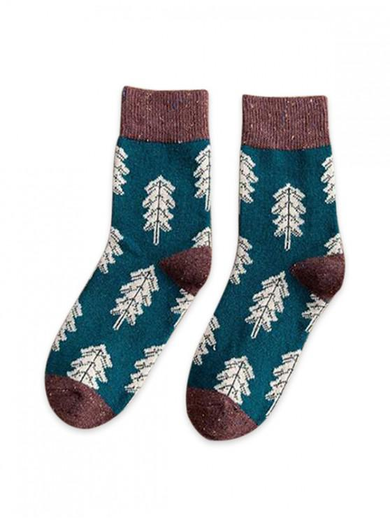 online Christmas Tree Pattern Confetti Socks - SEA TURTLE GREEN