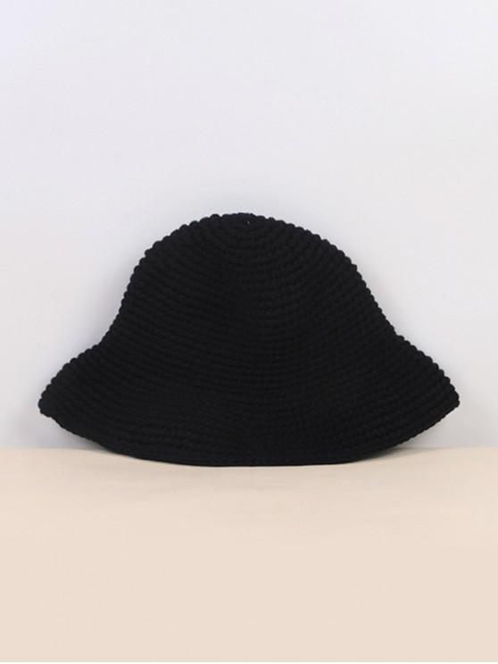 new Winter Solid Crochet Bucket Hat - BLACK