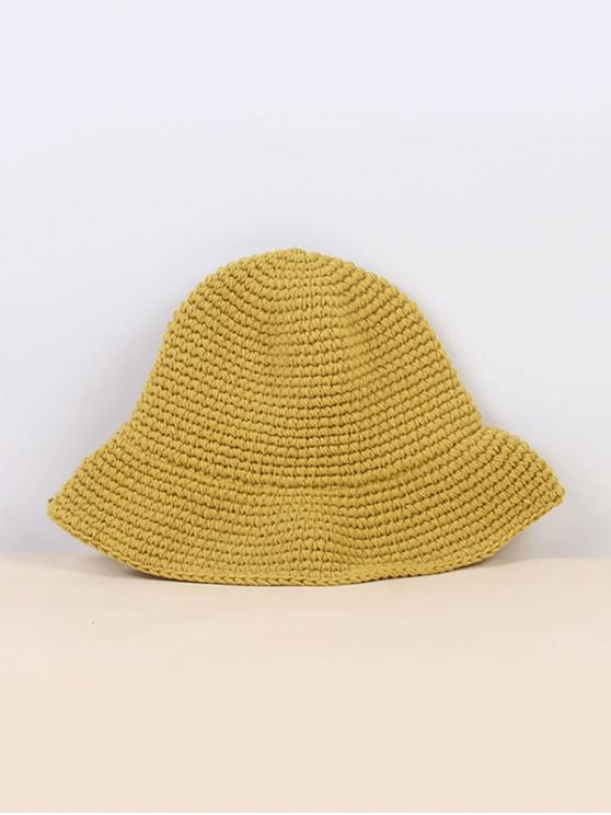 outfit Winter Solid Crochet Bucket Hat - GINGER BROWN