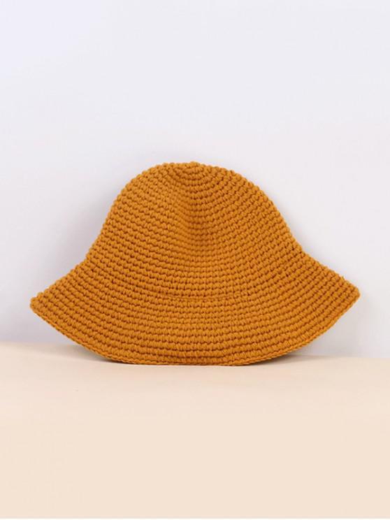 shop Winter Solid Crochet Bucket Hat - YELLOW