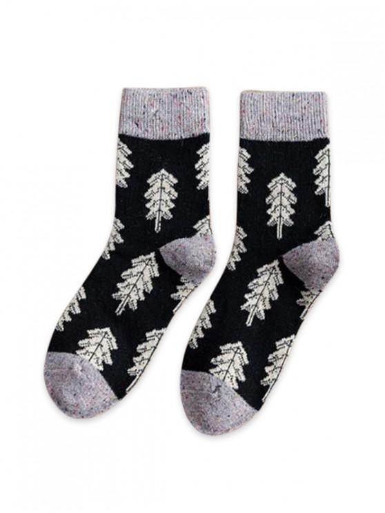 fancy Christmas Tree Pattern Confetti Socks - JET BLACK
