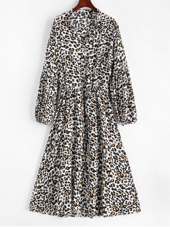 womens Leopard Print Half Button Drawstring Dress - MULTI-A XL