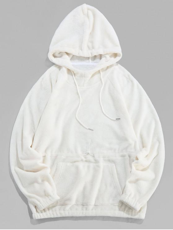 outfits ZAFUL Solid Drawstring Raglan Sleeve Casual Hoodie - WHITE 2XL