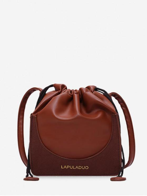 outfits Letter Print PU Leather Drawstring Crossbody Bag - COFFEE