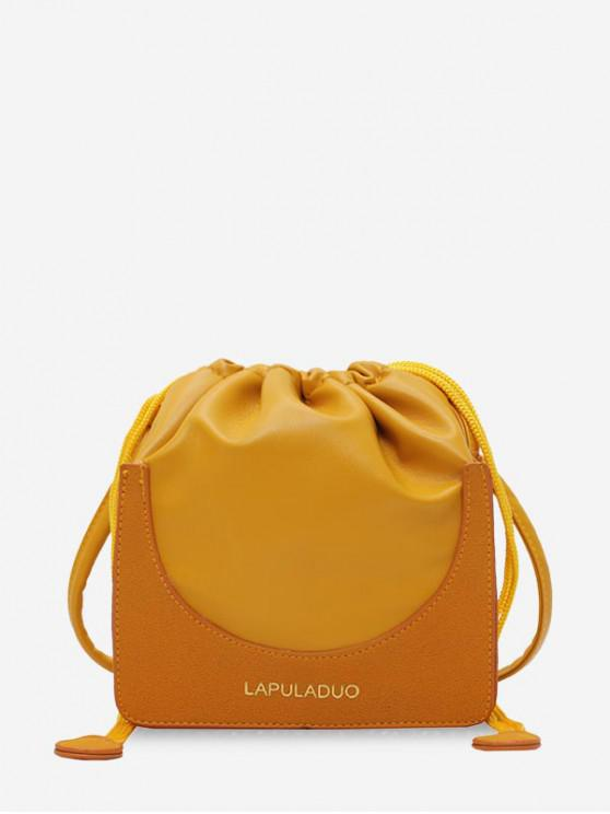 women's Letter Print PU Leather Drawstring Crossbody Bag - YELLOW