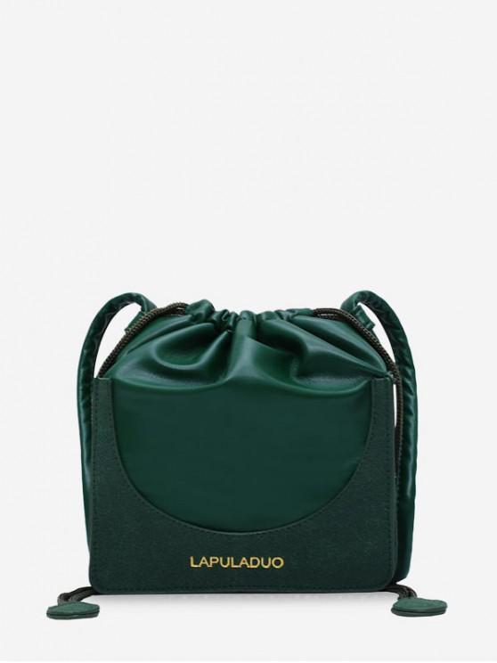 womens Letter Print PU Leather Drawstring Crossbody Bag - DEEP GREEN