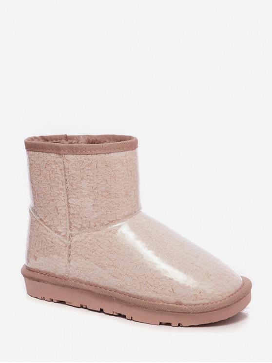 latest Metallic Thread Detail PU Fleece Snow Boots - LIGHT PINK EU 35