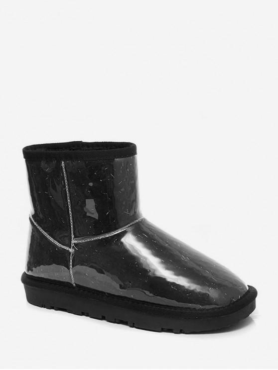 金銀線詳細PU羊毛雪地靴 - 黑色 歐盟40