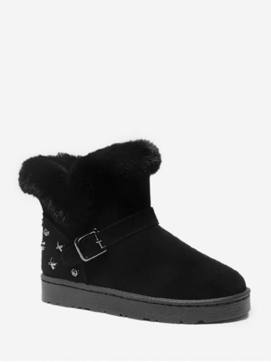 鉚釘點綴仿毛皮裝飾麂皮雪地靴 - 黑色 歐盟38