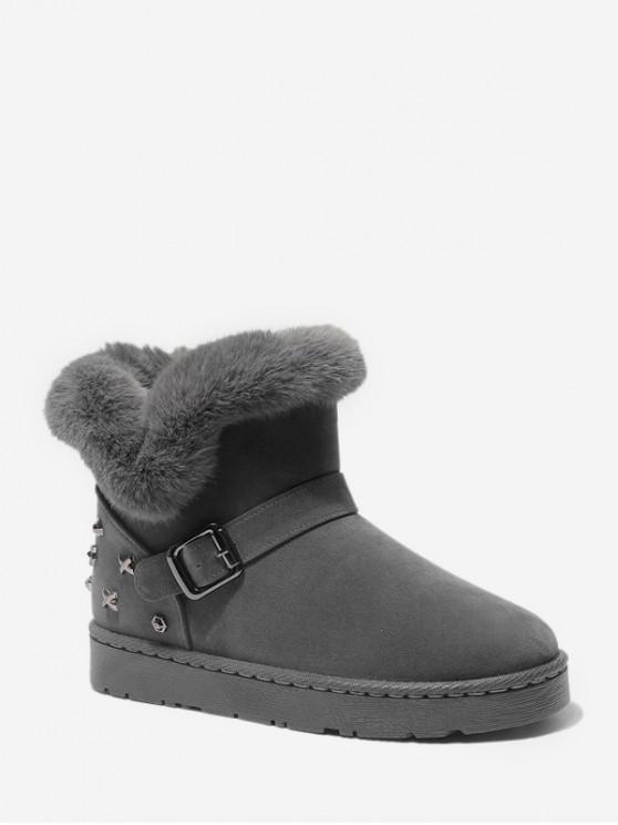鉚釘點綴仿毛皮裝飾麂皮雪地靴 - 灰色 歐盟37
