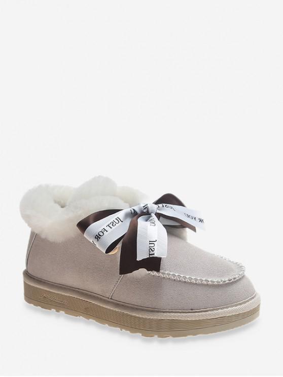 信打印蝴蝶結仿毛皮裝飾雪地靴 - 米色 歐盟35