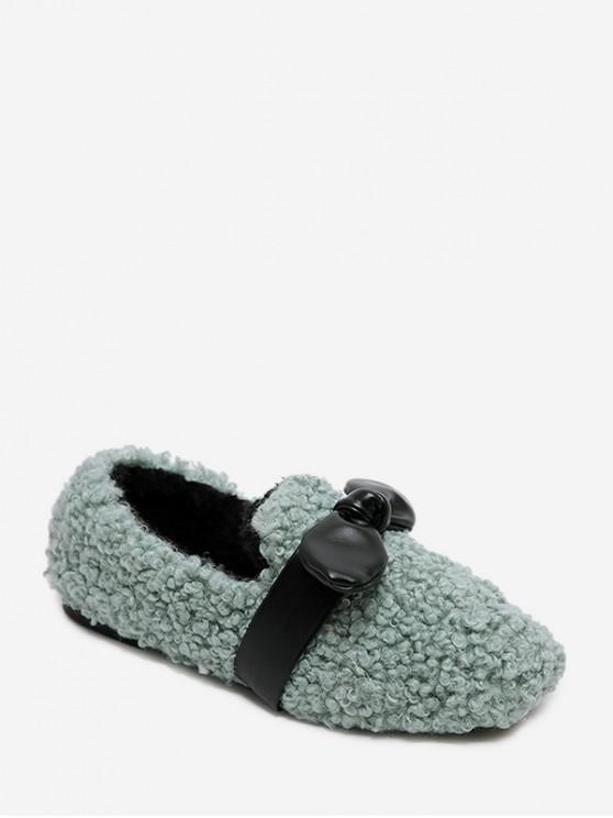 蝴蝶結點綴人造毛皮平底鞋 - 海綠色 歐盟40