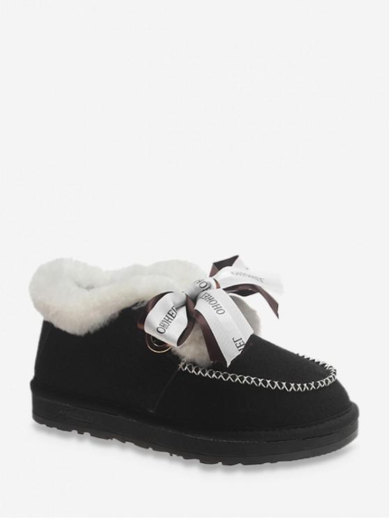 信打印蝴蝶結仿毛皮裝飾雪地靴 - 黑色 歐盟35