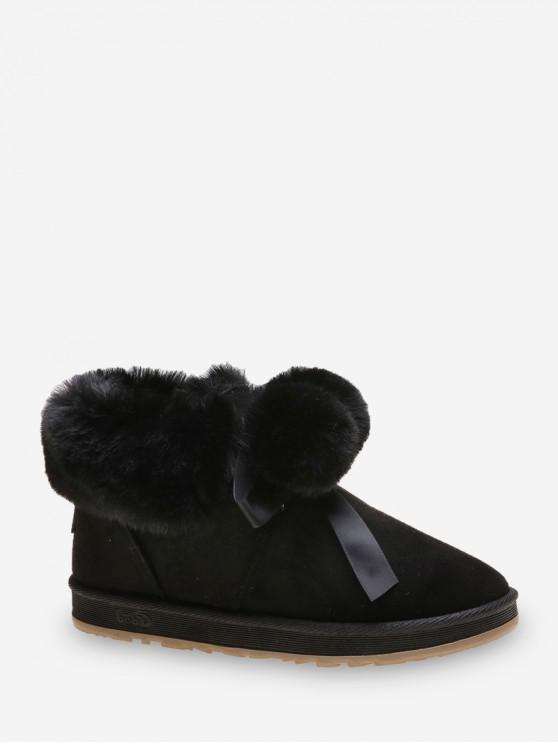 仿毛皮裝飾蝴蝶結雙龍出海雪地靴 - 黑色 歐盟38
