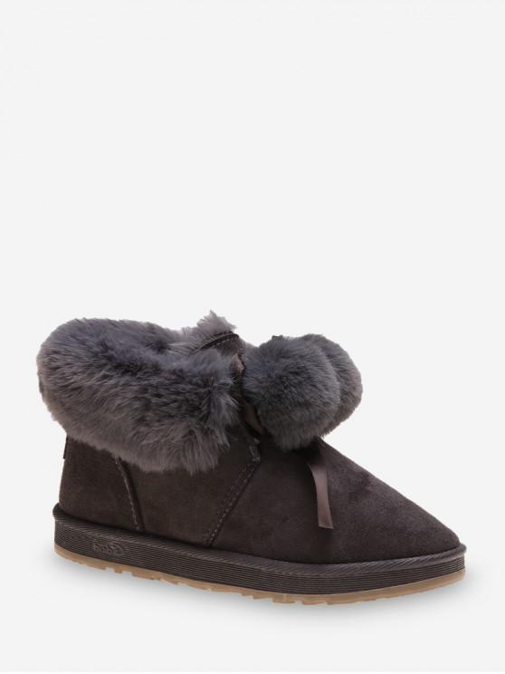 仿毛皮裝飾蝴蝶結雙龍出海雪地靴 - 灰色 歐盟38