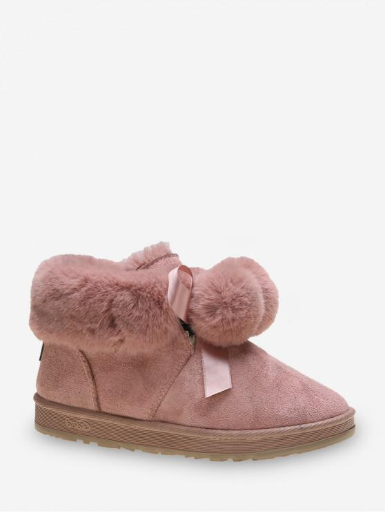 仿毛皮裝飾蝴蝶結雙龍出海雪地靴 - 淡粉色 歐盟38
