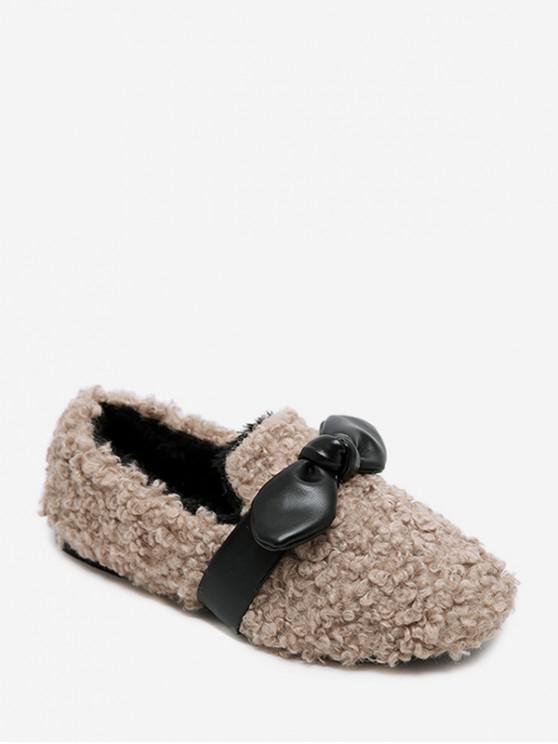 ladies Bowknot Embellished Faux Fur Flats - LIGHT KHAKI EU 35