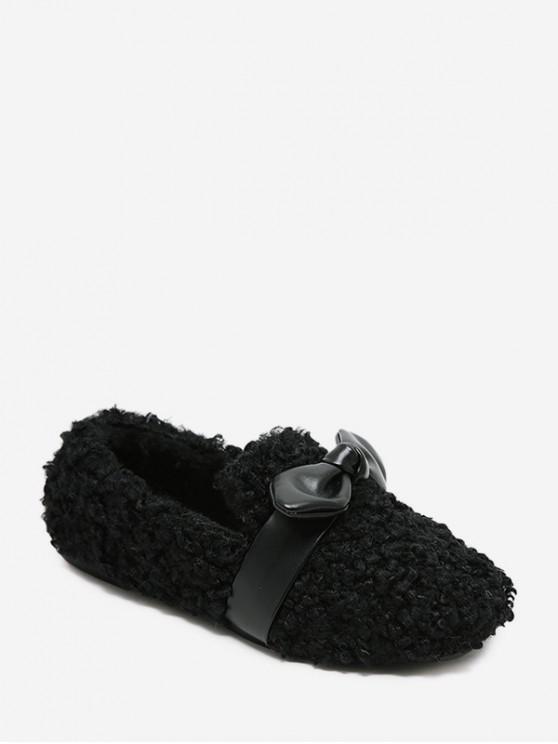 蝴蝶結點綴人造毛皮平底鞋 - 黑色 歐盟36