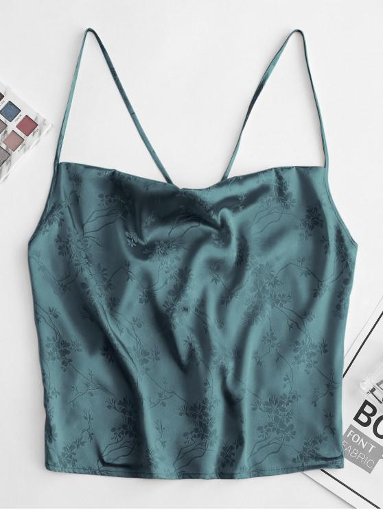 affordable ZAFUL Flower Jacquard Crop Camisole - DARK TURQUOISE S