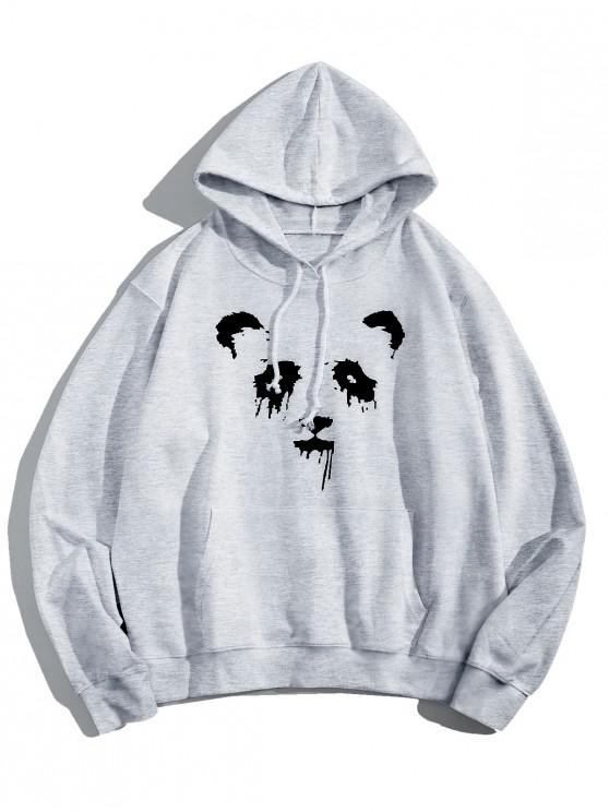 best Panda Ink Graphic Front Pocket Drawstring Hoodie - LIGHT GRAY S