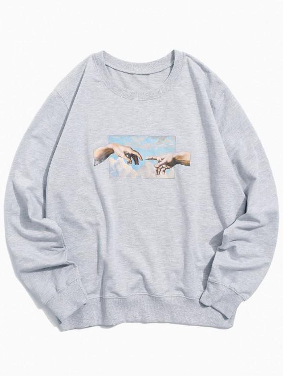 women's Helping Hands Pattern Casual Sweatshirt - LIGHT GRAY XS