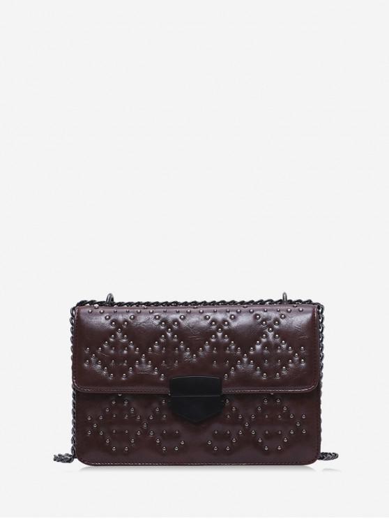buy Rivet Embellished PU Leather Flap Shoulder Bag - COFFEE
