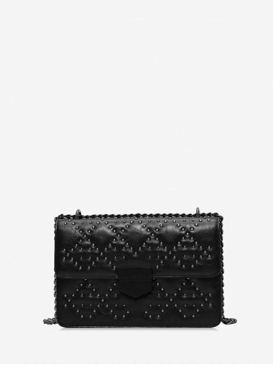 outfits Rivet Embellished PU Leather Flap Shoulder Bag - BLACK