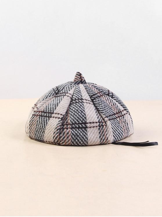 lady Plaid Cotton Beret Hat - BEIGE