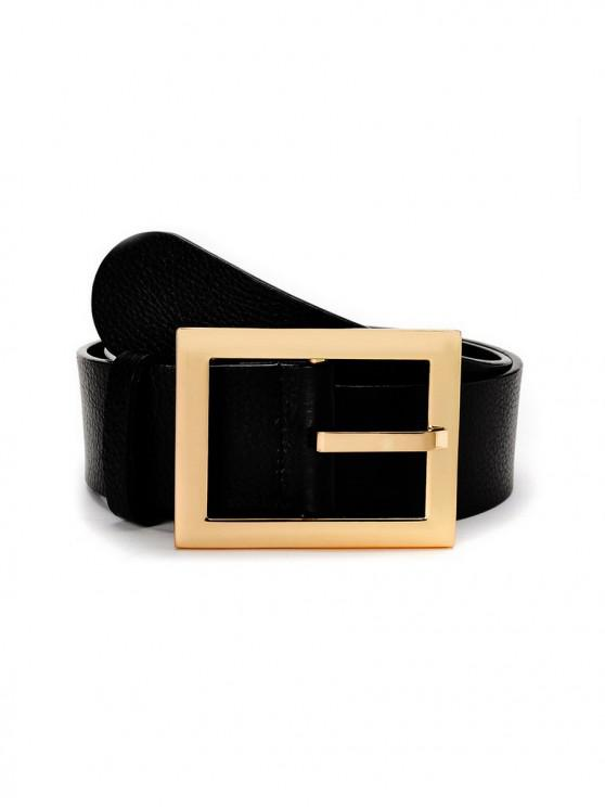 hot Thin Square Buckle Leather Belt - BLACK