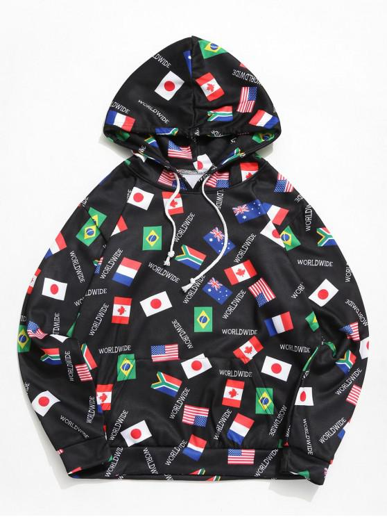 buy World Flag Print Pouch Pocket Drawstring Hoodie - BLACK 3XL