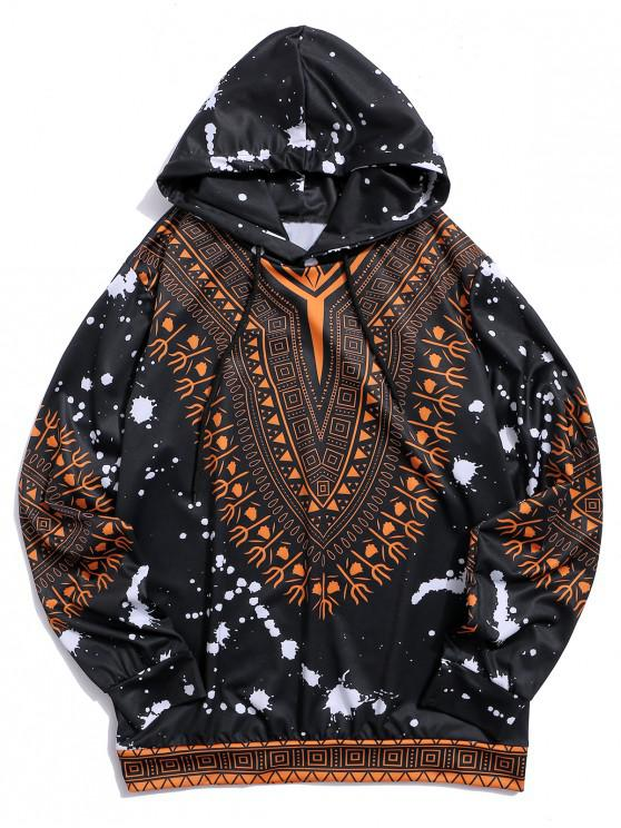 outfit Tribal Printed Casual Drawstring Hoodie - BLACK 3XL