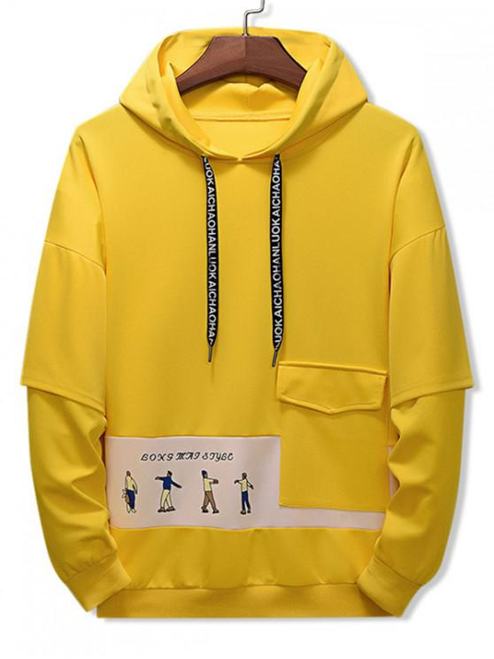 lady Letter Character Printed Pocket Hoodie - YELLOW 3XL