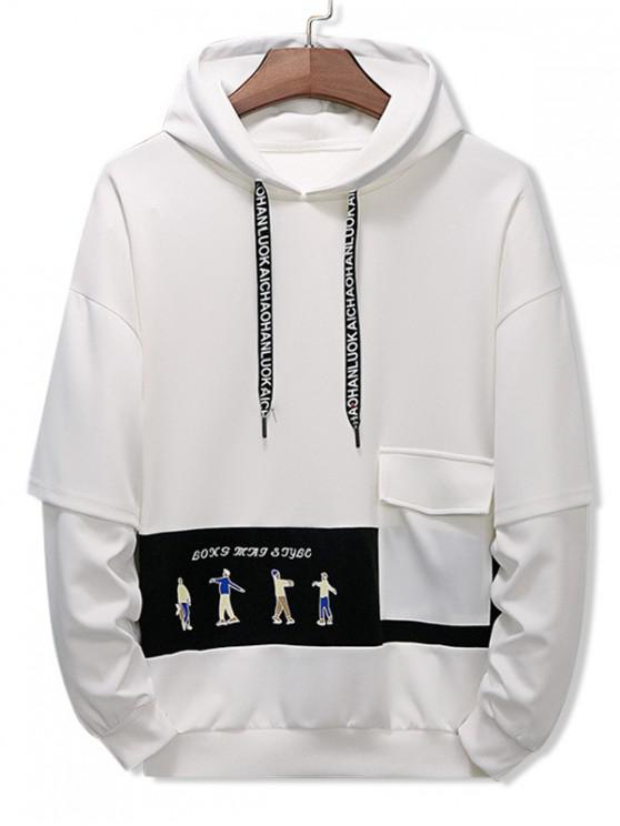 shop Letter Character Printed Pocket Hoodie - WHITE 4XL