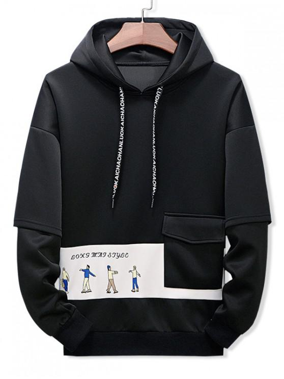 chic Letter Character Printed Pocket Hoodie - BLACK 3XL